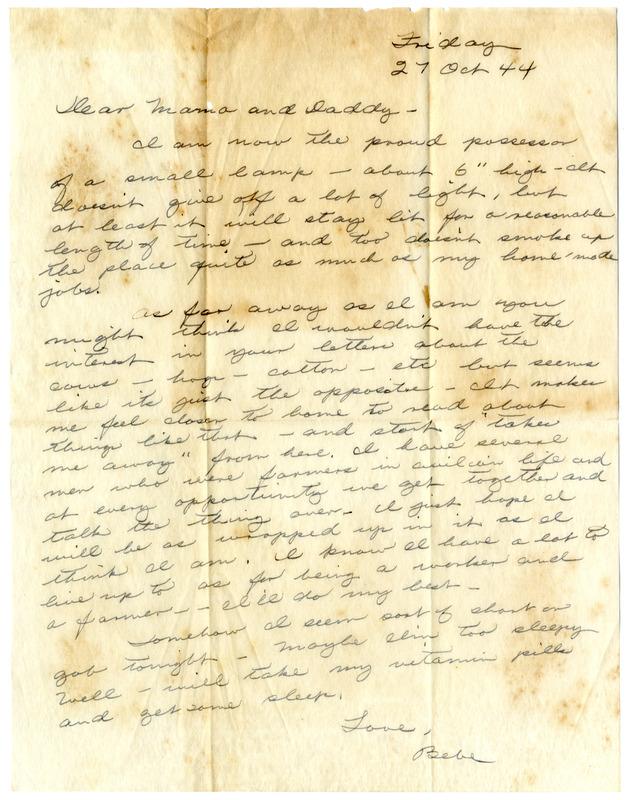 """Letter, Stewart H. """"Bebe"""" Bridgforth to Robert and Theresa Bridgforth, October 27, 1944"""