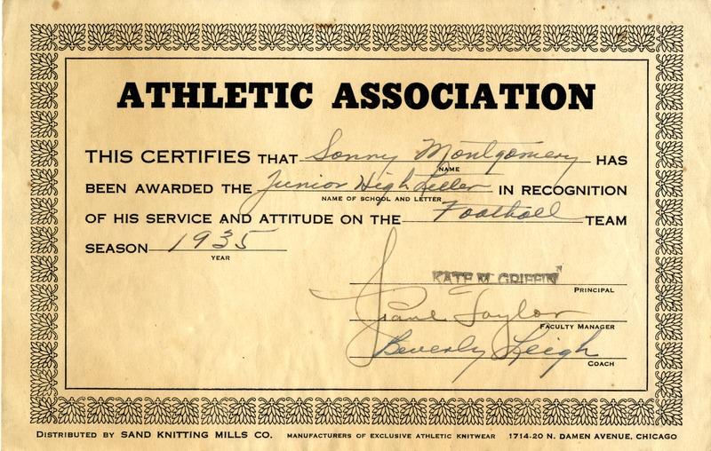 Sonny Montgomery's junior high football letter certificate