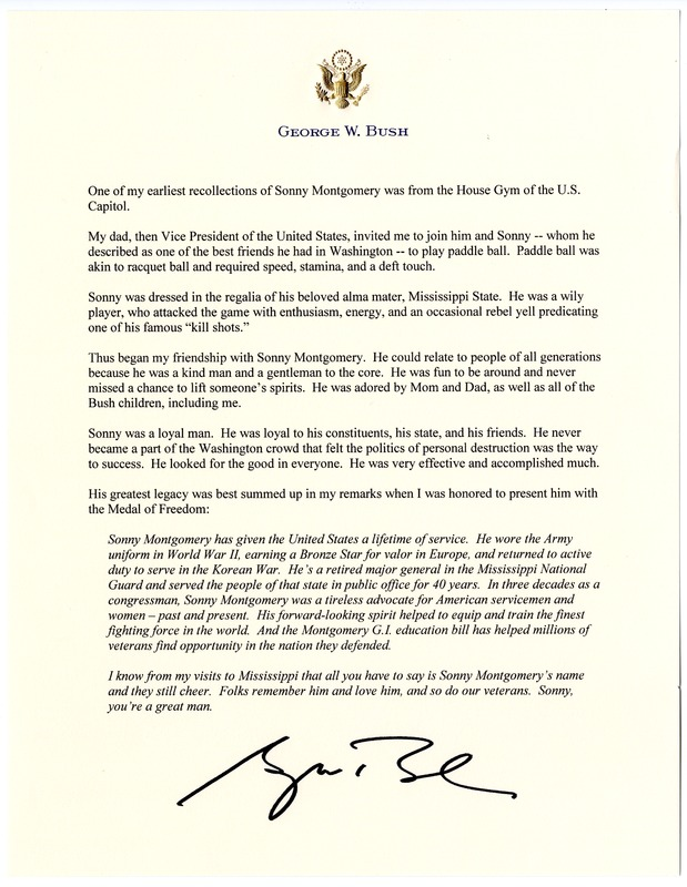 George W. Bush letter upon Sonny Montgomery's death