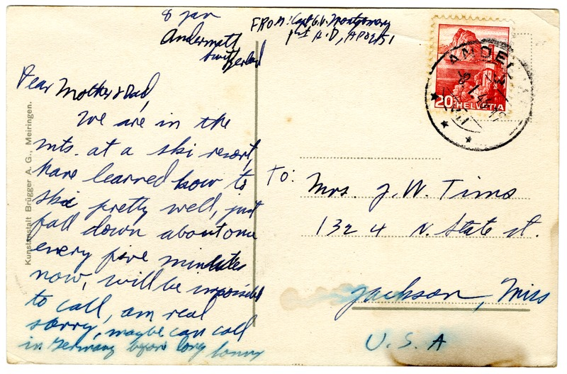 Sonny Montgomery WWII postcard