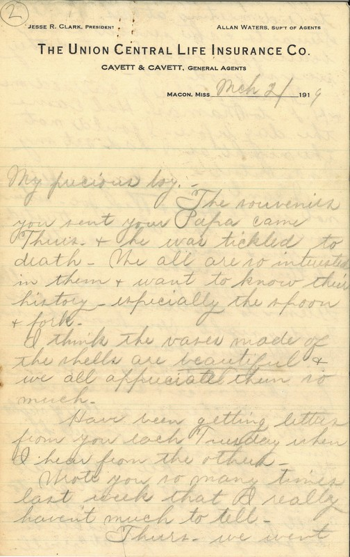 Letter, Louise Cavett Swann to Porter Swann, March 21, 1919
