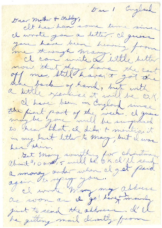 Letter, F. Warren Oakley to his Parents, December 1, 1944<br />