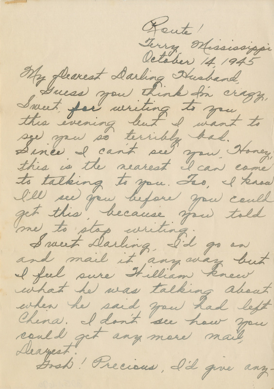 Letter, Fannye Rhodes to Luther Rhodes, October 14, 1945