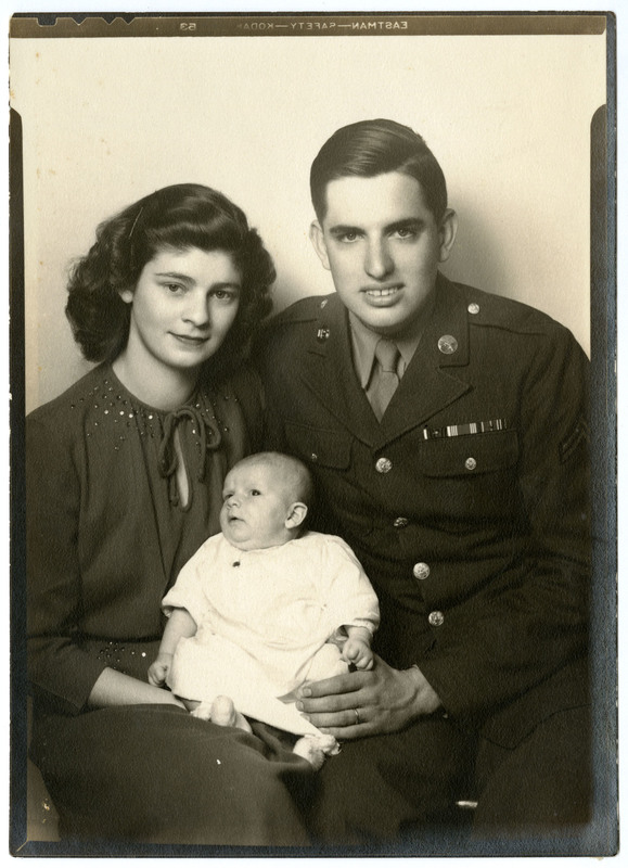 Photograph, F. Warren, Mary, and Florence Oakley, circa 1945