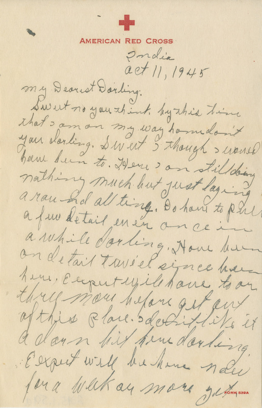 Letter, Luther W. Rhodes to Fannye Rhodes, October 11, 1945
