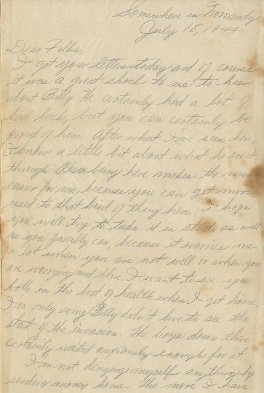 Letter, Frank T. Jackson to Parents, July 18, 1944<br />