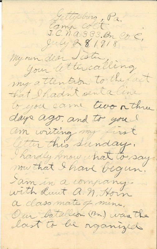 Letter, Howell D. McKnight to his sister, July 28, 1918<br />