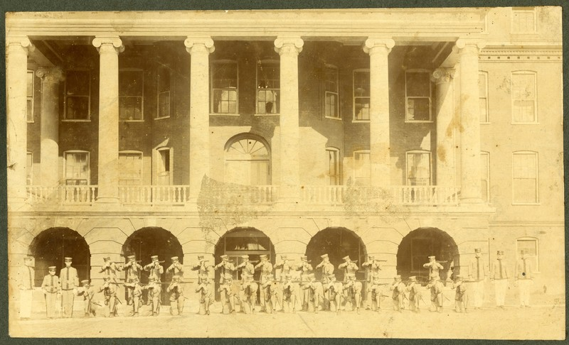 Photograph, Mississippi A&M Students at Old Main, undated