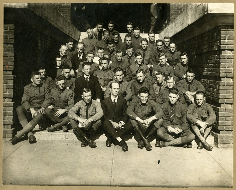 Photograph, Mississippi A&M Cadets on YMCA Steps, undated<br />