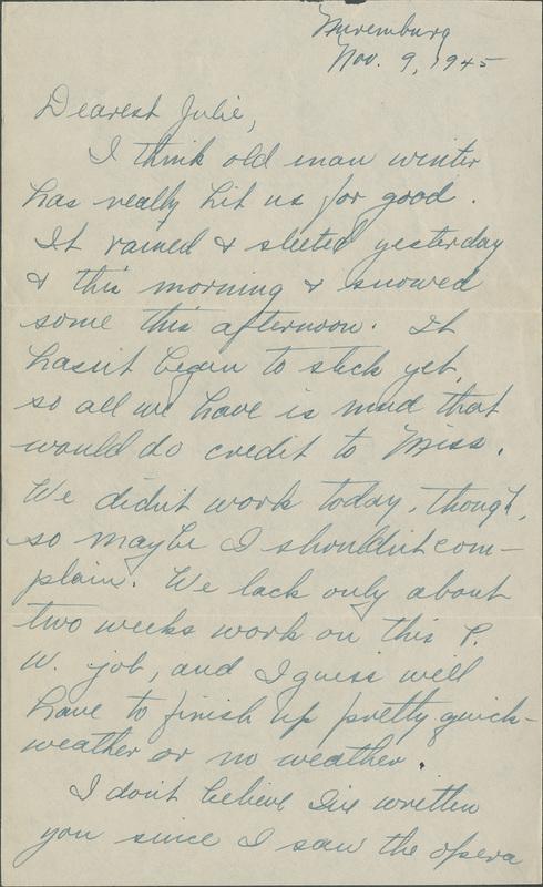 Letter, William N. Bogan, Jr., to Juliette Chamberlin, November 9, 1945
