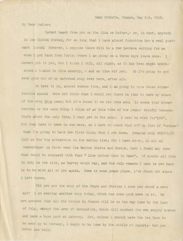 Letter, Percy C. Scott to his father, May 3, 1919