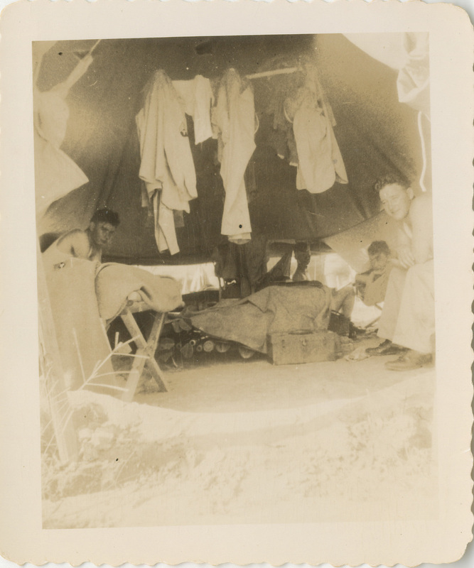 Photograph, Four Servicepersons in Tent, undated