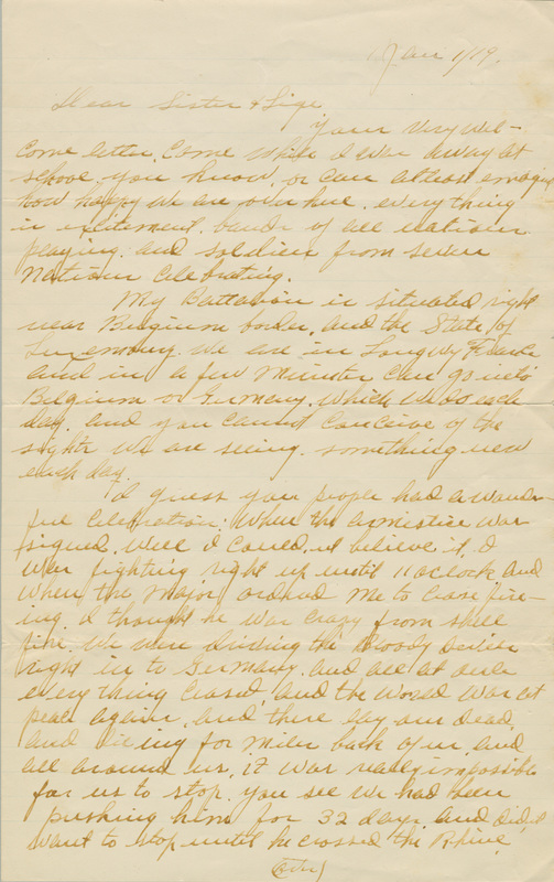"""Letter, Earl Southworth """"Southy"""" Williford to his sister, January 1, 1919"""