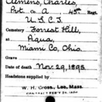 Civil War headstone record