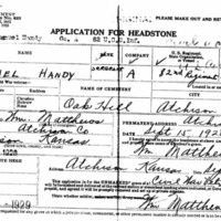 Headstone application for Emanuel Handy